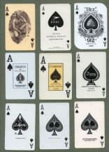 9 different single playing cards, all Aces of Spades  #290